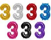 """Number 3 Balloon Mylar 34"""" Number Balloon Pink, Blue, Gold, Silver, Red, Purple or Black Helium Quality Balloon 3rd Birthday Photo Prop"""