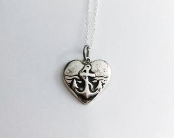 Anchor Heart Necklace  - Fine Silver - Handmade Jewelry - Heart Charm