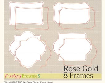 ON SALE Digital Rose Gold frame, Pink Gold line Frames clipart, digital scrapbooking frames Rosegold A-03 , Instant download