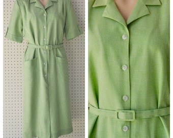 1980s GREEN SHIRTWAIST DRESS Womens vintage dress bright green polyester retro 80s bust 40 bust 32 plus size lime green