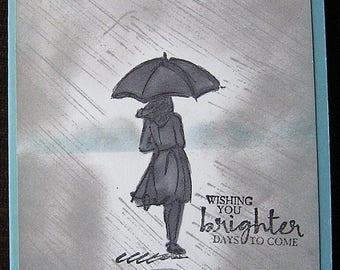 Handmade Greeting Card, Girl with Umbrella Walking in Rain, Blue, Blank Inside.