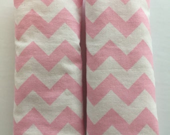 Pink and White Chevrons- Stroller Strap Covers, Car Seat Strap Covers, Reversible Strap Covers