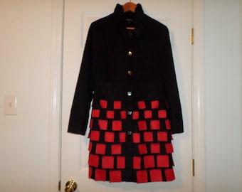 Vintage Unique Coat jacket M Black Red Mod Chic Rad Avante Guard Lined