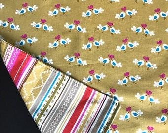 Bird Cloth Napkin Mix Set - Reversible - Hearts Pink Love Birds