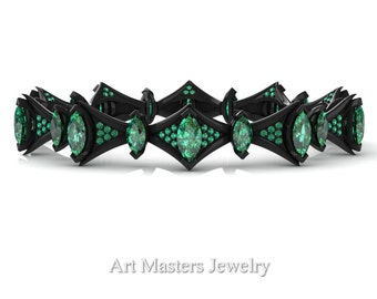 Savage 14K Black Gold 15.0 Ct Marquise Emerald Art Nouveau Bridal Bracelet R438B-14KBGEM