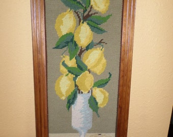Needlepoint/FRAMED LEMONS/SIGNED/Vintage/Solid Maple