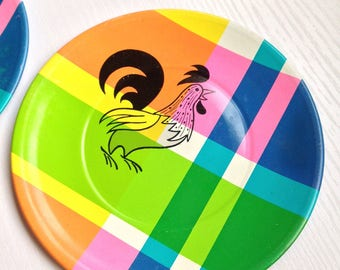 Rooster Plaid Metal Toy Dishes