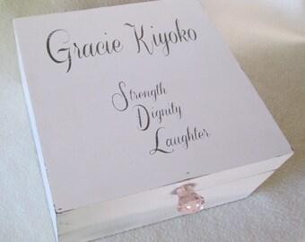 Shabby Chic Keepsake Box - Large Memory Box - Keepsake Box - Large Keepsake Box - Antique White - Personalized - Gift