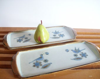Ken Edwards El Palomar Platters, Set of Two, Long Rectangular Serving Trays, Mid-Century Boho Pottery, Mexican Dinnerware, Hand Painted