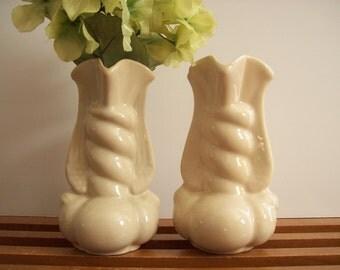 Niloak Bud Vases, Ivory, Pair, Winged, Vintage Art Pottery Vase, Cream Vases