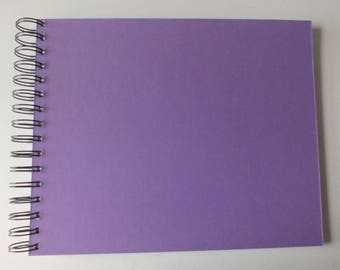 "1 handmade scrapbook album 8 x 10 "" 20 white pages SLIGHT FLAWS Purple Mountboard covers"