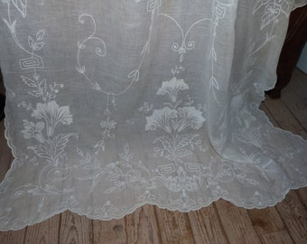 Antique embroidered lace window curtain drape LONG French handmade intricate floral whitework embroidery arts and crafts panel w roses