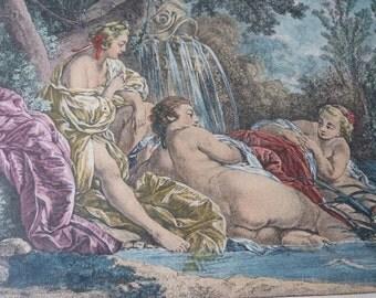 """Antique French engraving gravure """"Plaisir de l'Eté"""" F Boucher for Madame de Pompadour w cherubs putti, engraving for framing boudoir decor"""