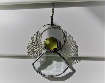 Bevel Angel Crystal Bevel Suncatcher - Yellow Crystal Gem - Dainty, elegant, silver filigree wings, Personalize with a Hand Stamped Tag