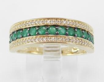 Diamond and Emerald Anniversary Band Wedding Ring 14K Yellow Gold Size 7 May Birthstone