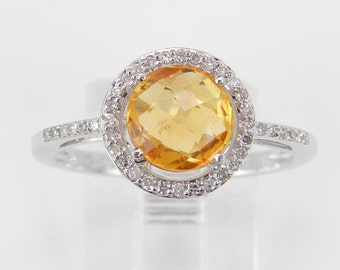 Diamond and Citrine Halo Engagement Promise Ring 14K White Gold Size 7 November Birthstone