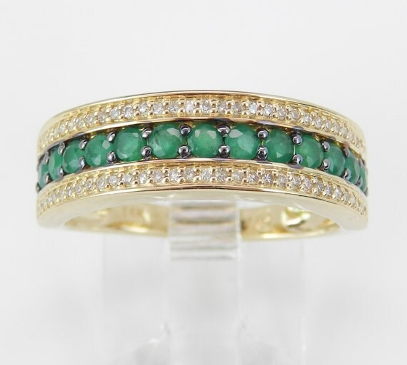 Diamond and Emerald Anniversary Band Wedding Ring 14K Yellow Gold Size 6 May Birthstone