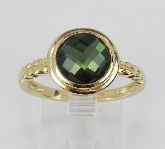 14K Yellow Gold Green Tourmaline Solitaire Engagement Promise Ring Size 7
