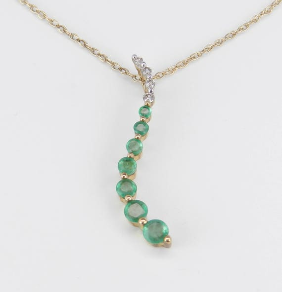 """Diamond and Emerald Journey Pendant 14K Yellow Gold Necklace 18"""" Chain May Birthstone"""