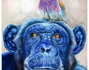 Monkey art print limited edition Giclee print art print chimpanzee monkey animal art fantasy artwork