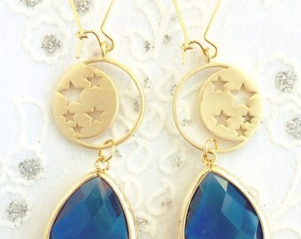 Moon and Stars Blue Drop Earrings Jewelry Gift Bridesmaid Jewelry Bridesmaid Gift for Her Jewelry Girlfriend Gifts Limonbijoux