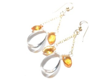 Large Clear Quartz with Citrine Dangle Earrings