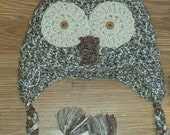Reserved Custom Listing For: PETER F-D. Brown/Cream Owl Hat. FREE SHIPPING