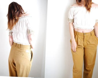 Vintage Pants Womens caramel cotton 80s 90s high waisted carrot pants mom trousers brown cotton beige cognac relaxed fit