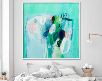 "Abstract floral giclee print of acrylic painting large art 40"", green shades, aqua, feminine art ""Sea foam 1"""