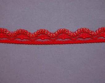 Red Gold Scallop Lace Trim