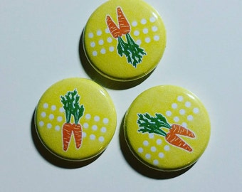 Pink Yellow Carrot 1 inch pinback button set of 3