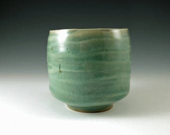 Stoneware Ceramic Pottery Tea Cup - Yunomi Handmade Tea Bowl in Celedon Green - M109