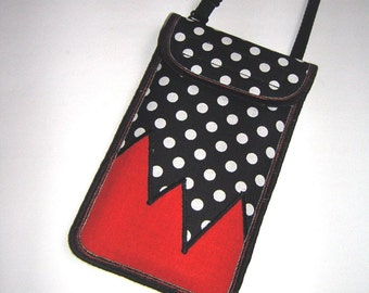 Cellphone Cover neck / crossbody iPhone 7 Plus Case Large Smartphone Wallet Phone Purse stylish pouch Handmade fabrics pocket dots orange
