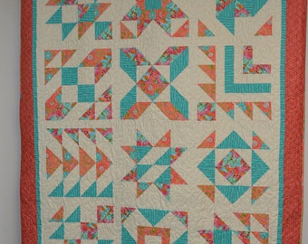 FOUR PATCH Peach and Turquoise Quilt