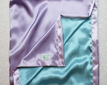 Satin blanket, charmeuse satin, double-sided satin blanket, satin, silky blanket, soft blanket, aqua and lavender, blue green, purple woobie