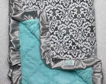Minky Blanket, baby girl, blanket for girl, aqua and grey, grey and blue, soft blanket, Lattice Print, Ruffle Blanket, Damask grey