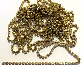 Rhinestone Chain, 6 Continuous Feet,  2mm Settings, Crystal AB, Cup Chain,  Jewelry Chain, Bsue, 6 Continuous Feet, Item02150