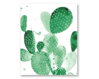 "Green Paddle Cactus I Watercolor print - Succelent painting, desert, boho - 5x7"", 8x10"", 11x14"", 13x19"""