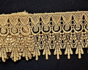 Gold Metallic Venise Lace, 4+1/4 inch wide selling by the yard