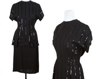 1940s Dress // Black Striped Sequin Peplum Rayon Dress