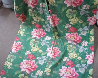 Vintage Pair Floral Barkcloth Curtains Pink Green 75x23 Cottage Chic Fabric