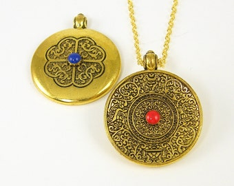 Gold Tribal Pendant Necklace, Gold Mandala Necklace, Gold Tibetan Necklace, Reversible Blue Red Gold Pendant Necklace |NC2-18 AN2-5