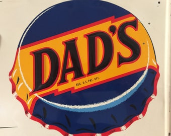 Dad's Root Beer Unbelievable Embossed Soda Pop Soft Drink Beverage Chicago Advertising Collectable Sign Fathers Day