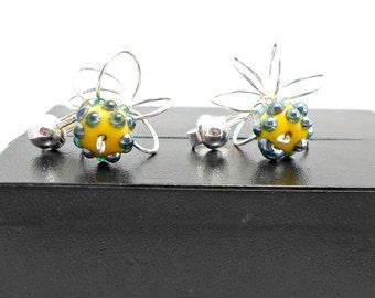 Handmade earrings Bob lampwork bead bumpy Orbital Galaxy wire clip or pierced