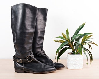Black Vintage Boots Stitched Leather Riding - Size 6 1/2
