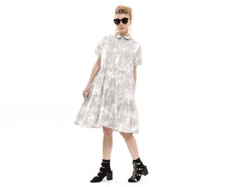 Stone wash grey dress, high waist,  Fashion Dress for Summer, short Sleeves Loose and  Relxed Fit