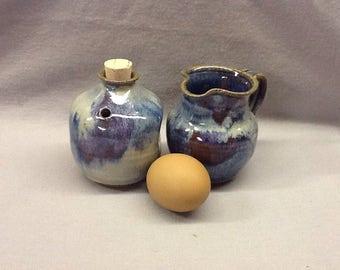 Sugar Shaker & Creamer Set. Opal glaze.