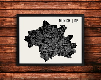 Munich Map Artwork | Map of Munich| Munich Germany Map | Munich City Map | Munich Poster | Munich Wall Art Print