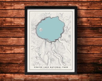 Crater Lake National Park Topographic Map Art Print | Crater Lake National Park Print | Crater Lake National Park Artwork | Topographic Art