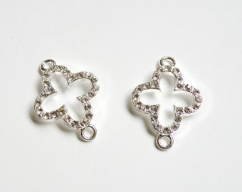 2 Rhinestone Clover connector links shiny silver plated crystal 26x18mm CC1999-6149